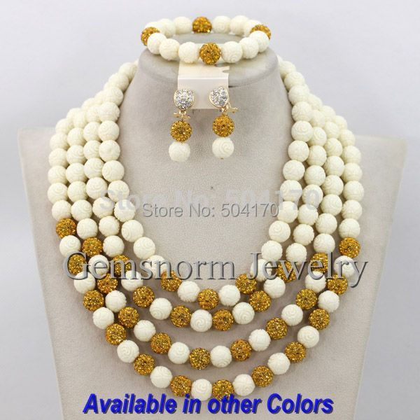 necklace rows in from beads handmade item multicolor fancy african sets shipping free wedding nigerian costume jewelry crystal