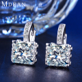 MDEAN White Gold Plated earrings Fashion Wedding Hoop Earrings cubic Jewelry Engagement Earrings for Women Free Shipping MSE016