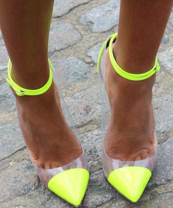 2018 dames mode néon haut talon Transparent PVC Patchwork femmes cheville boucles pompes Sexy parti chaussures femme printemps robe chaussure