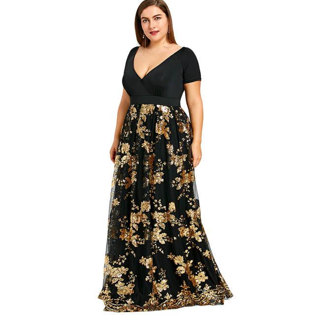 aacbf99f319f3 LANGSTAR Black Plus Size Dress Women Sexy Deep V Neck Floral Sparkly Maxi  Dress Elegant Party Evening Long Gown Dress Big Size