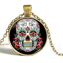Skull Necklace – Hot Sale Vintage Round Pendant Skull Gold Ethnic Glass Skull Necklace New Fashion Women Men Necklace#1786357