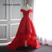 Red Prom Party Dresses High Low Off Shoulder A Line Homecoming Cocktail Dress For Graduation Juniors Girls Vestido De Festa 178