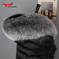 Inverno 100% Genuíno Real Brasão Natural Fox Fur Collar Mulheres Cachecol Fashion Lenços Camisola Cap Gola de Pele De Guaxinim de Luxo L #60