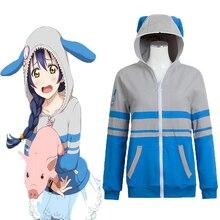 купить Anime Love Live! Hoodies Animal Cosplay Costume Sonoda Umi Cosplay Costume Sweatshirt Casual Coat Halloween Carnival Women дешево