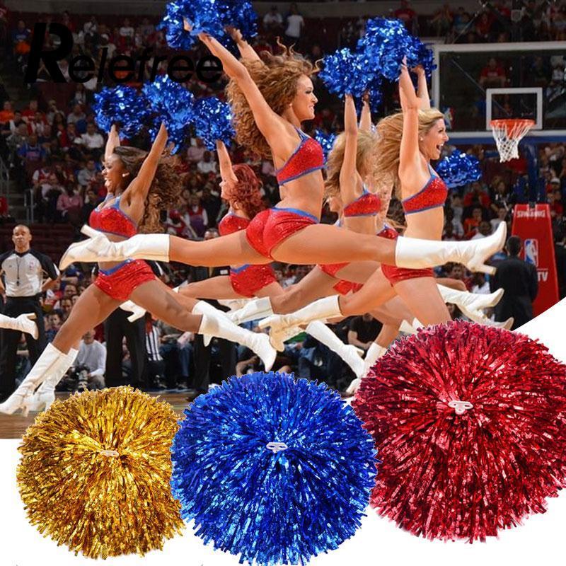 1 par cheerleading poms bola de flor da competição das fontes do esporte da dança da torcida que ilumina acima da festa torcendo poms extravagantes