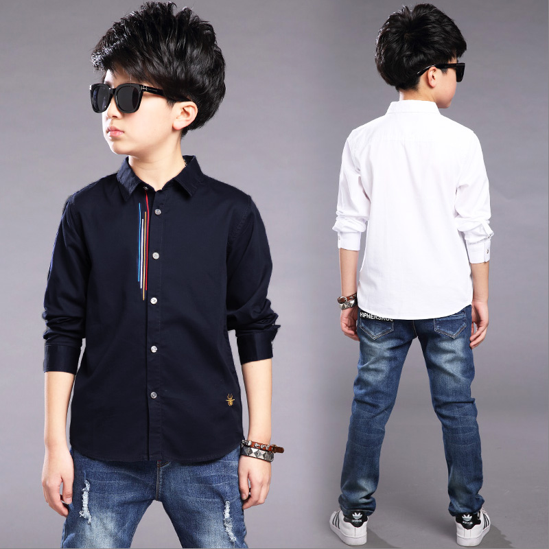 Kids Clothes Spring Autumn Boys Cotton Blouses Kids Boys Long Sleeve Shirt Children Fashion Shirt 5-14 Years Turn-down Collar pockets turn down collar long sleeve men s shirt