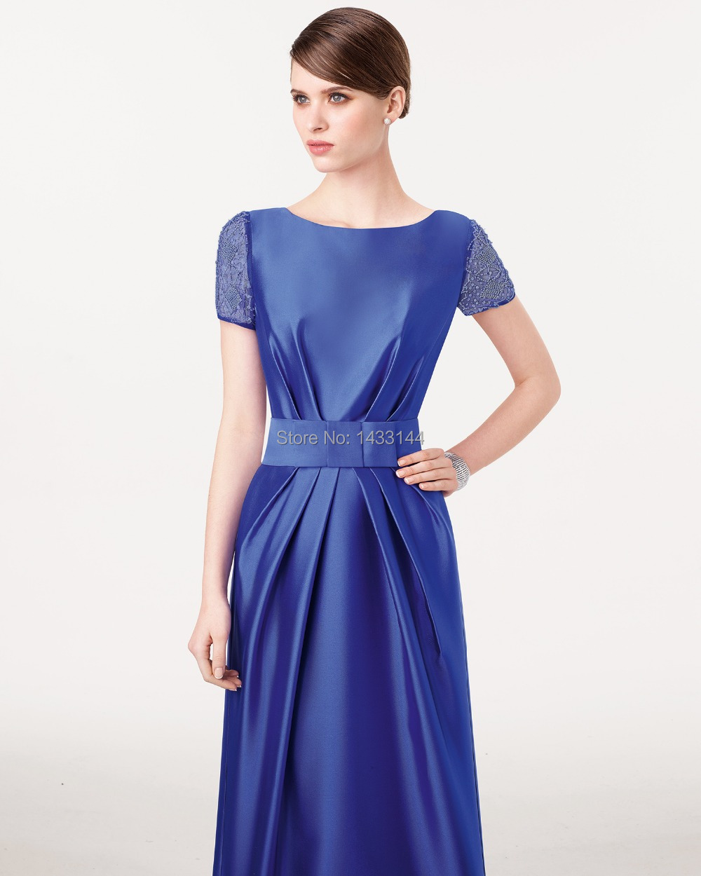 New Arrival 2017 Elegant Royal Blue Evening Dresses Beads Cap Sleeves Long Formal Wedding Guest Party Prom Gowns Vestido Noite In From