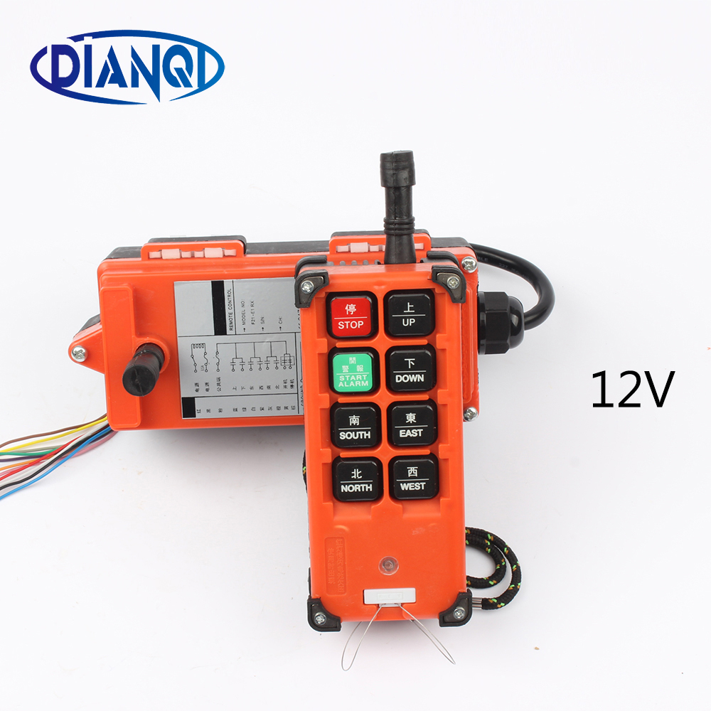 DC 12V Industrial remote control <font><b>switches</b></font> hoist crane push button <font><b>switch</b></font> with 8 buttons 1 receiver+ 1 transmitter F21-E1B image