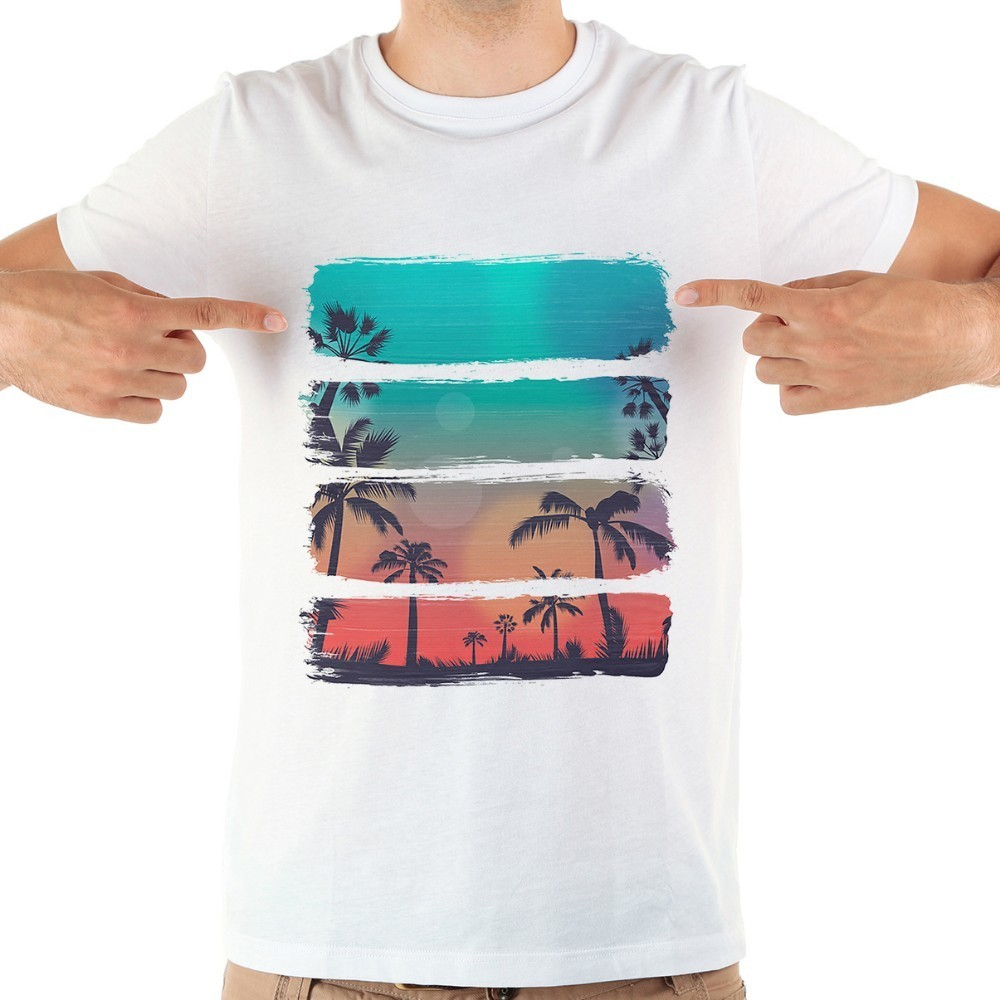 JOLLYPEACH BRAND Beach Summer Sunset Fresh Style Tshirt Men 2018 New White Short Sleeve Casual Homme Cool T Shirt