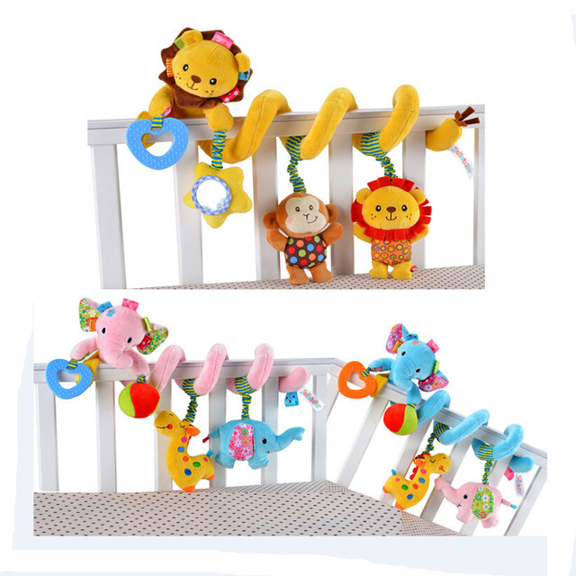 Baby brinquedo lion Elephant Baby Stroller hanging bed bells Plush Toys Baby Rattles Newborn Infant  Early Educational Doll