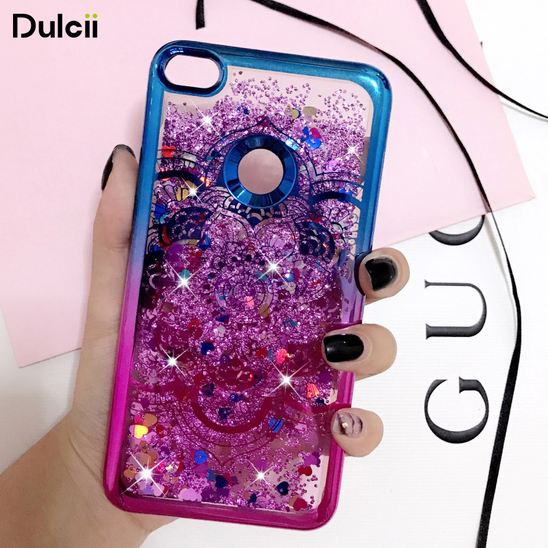 dulcii case cover for huawei p8 lite 2017 honor 8 lite electroplating edges liquid glitter