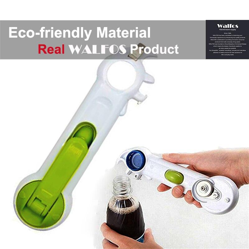 WALFOS 6 Vías Abrelatas universal para abrir el frasco Puede embotellar vino Cocina Multiuso Todo tamaño en una herramienta 1 pieza