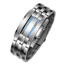 Мода Часы Мужчины Цифровой Металлический Браслет СВЕТОДИОДНЫЙ Наручные часы relogio feminino masculino