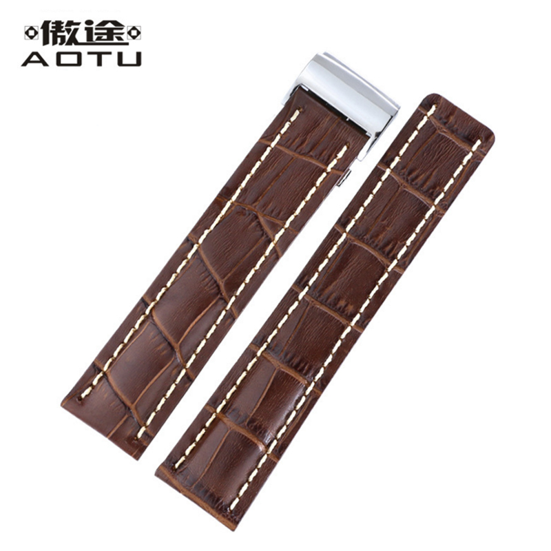 Mens Genuine Leather Watch Straps For Breitling AVENGER Series Watch Casual Male Clock Watchbands 22mm 24mm