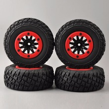 1:10  Scale 4 PCS/Set RC Short Course Truck Tires Set Tyre Wheel Rim For SlASH HPI Remote Control Car Model Toy Parts