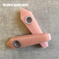 Luminous Stone Smoking Pipe Pink Manmade Stones and Minerals with Strainer 1 Pc Smoke Pipe Runyangshi YF43