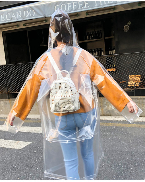 FreeSmily Fashion transparent raincoat adult hiking outdoors fishing raincoat EVA plastic environmental protection raincoat