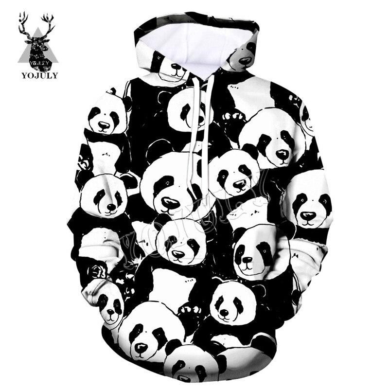 YOJULY Novelty Streetwear Men Hoodies Panda black white 3D Printed Fashion Casual Unisex Pullover Hoodie Hooded Sweatshirts H28 hoodie