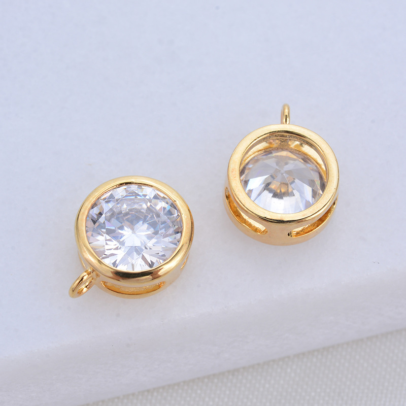 221 6PCS 7MM 24K Gold Color Plated Brass with Zircon Round Charms Pendants High Quality DIY Jewelry Making Findings in Charms from Jewelry Accessories
