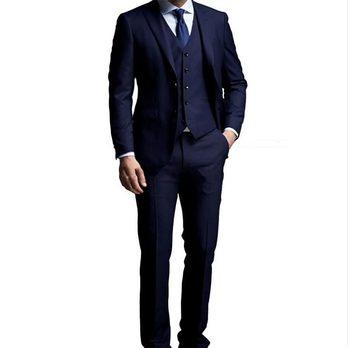 Fashionable Two Buttons Navy Blue Groom Tuxedos Groomsmen Peak Lapel Mens Suits Blazers (Jacket+Pants+Vest+Tie) W:996