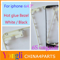 50pcs Black White Front Bezel with hot glue for iPhone 6s 4.7 inch LCD Middle Frame Housing Parts Chrome Screen Holder