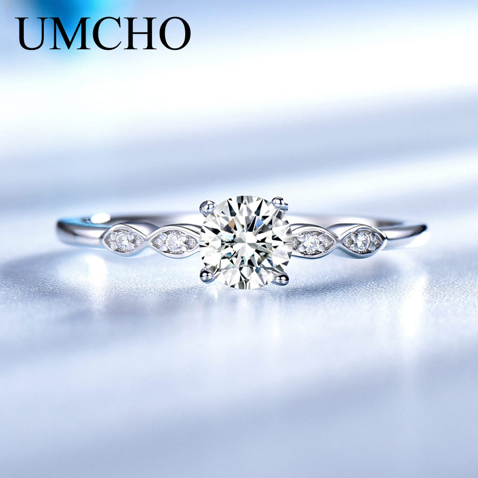 UMCHO Silver 925 Jewelry Luxury Bridal Cubic Zirconia Rings for Women Solitaire Engagement Wedding Band Party UMCHO Silver 925 Jewelry Luxury Bridal Cubic Zirconia Rings for Women  Solitaire Engagement  Wedding Band Party Gift Jewelry New
