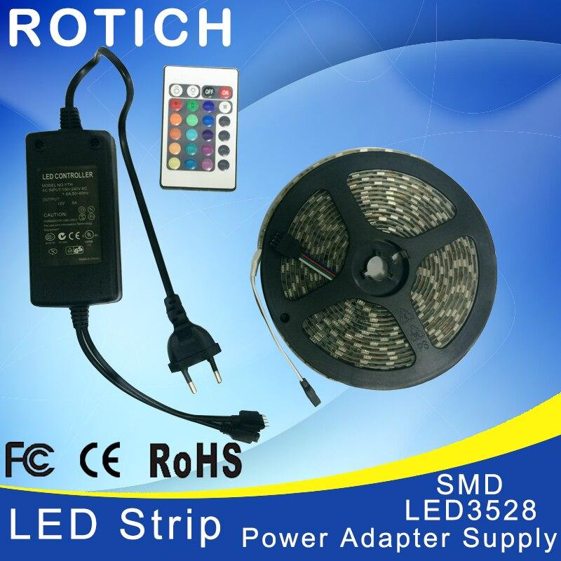 Rgb ah condotto la striscia 5 m 3528 smd 24key ir remote controller 12 v 2a power adapter luce led lampade decorazione della casa