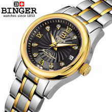 2016 new Binger brand fashion leisure watch women watches Stain Steel strap CZ diamond women wristwatch Switzerland relogio