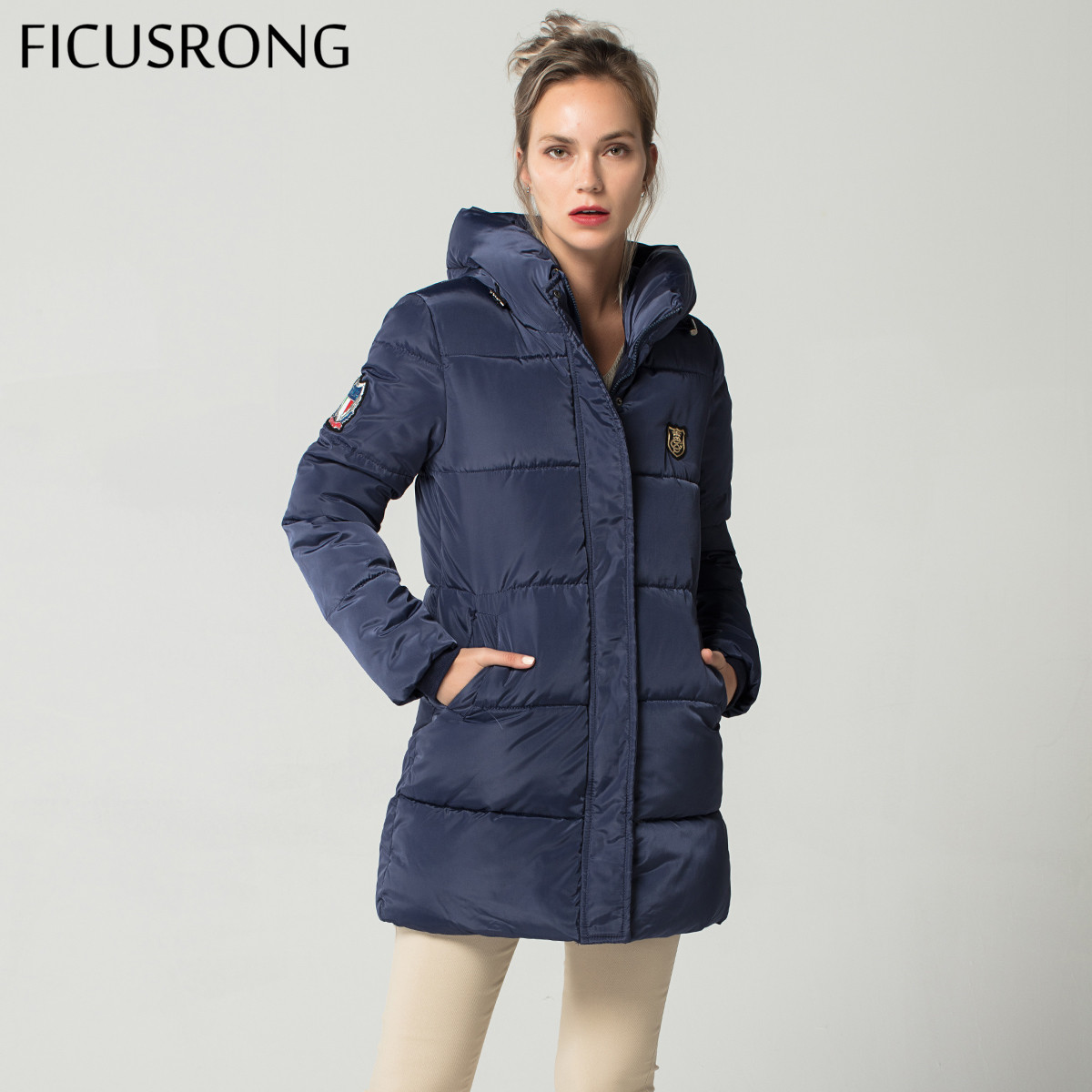 Long Down   Parkas   Female Women Winter Coat Thick Warm Cotton Hooded Jacket Womens Outerwear   Parkas   for Women FICUSRONG
