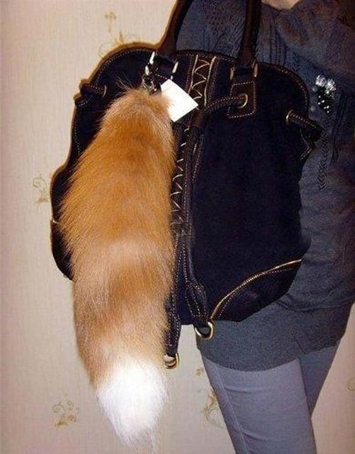 Big Fur Fox Tail Key Chain Jean Bag Charm,Fur Tassel Bag Tag Charm,keyring 16''