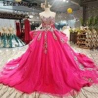 Красочные цвета фуксии Свадебные платья для Для женщин Кружева Кристалл Тюль Сексуальная Милая Корсет индивидуальный заказ бальные платья