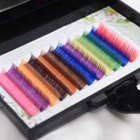 QSTY 12rows/tray, 12 Colors ,Rainbow Colored Eyelash Extension ,Faux Mink color eyelashes,colorful cilia eyelash extension