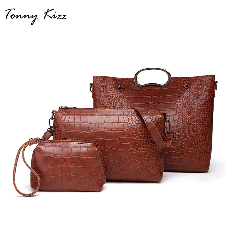 Tonny Kizz 3 pcs Women Composite Bag Large Capacity Women tote bag alligator prints shoulder female crossbody handbag+coin purse miesati luxury 3 sets handbag women composite bag female large capacity tote bag fashion shoulder crossbody bag small purse