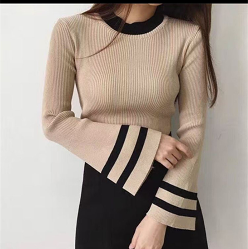 Autumn Winter Women Knitting Full Flare Sleeve O-neck Sweaters Pullovers Girls Knitted Patched Tops Knitwear FL6959