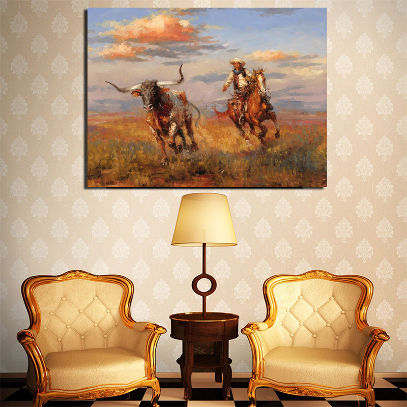 Western Cowboy Painting By Andy Thomas Canvas Prints Bedroom Home Decoration Modern Wall Art Posters Framework