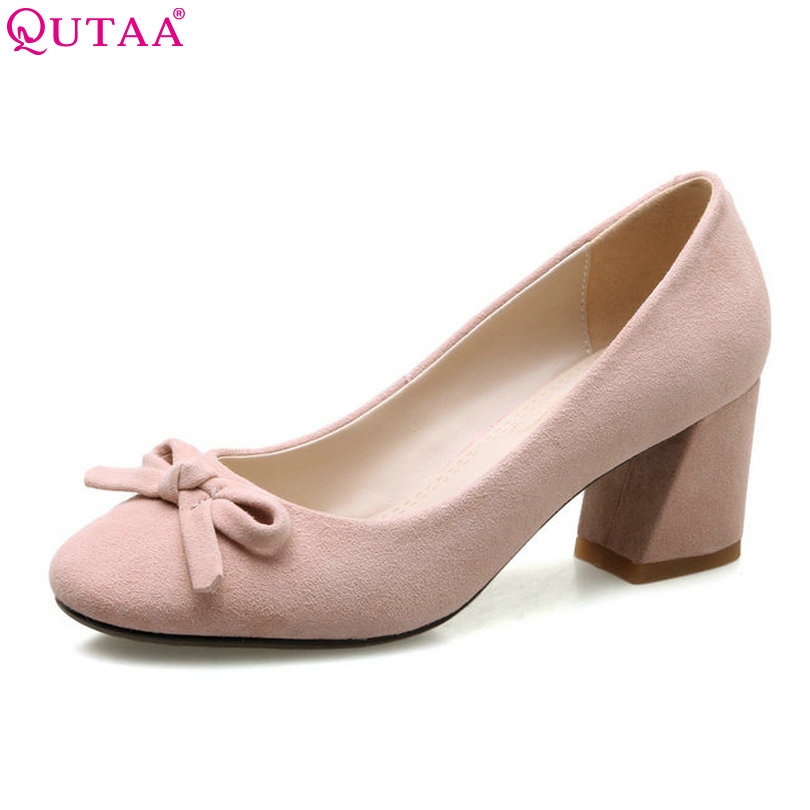 QUTAA 2018 Women Pumps Kid Suede Square Med Heel Shoes Pointed Toe Elegant Butterfly-Knot Ladies Wedding Shoes Size 34-39 esveva 2018 women pumps elegant butterfly knot pointed toe square high heels pumps suede slip on pumps women shoes size 34 39