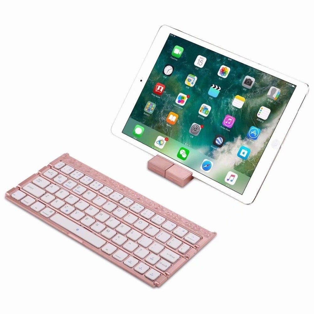 Sans fil Bluetooth 3.0 clavier Ultra mince quatre pliant pour APPLE iOS ipad clavier Android Smartphone tablette