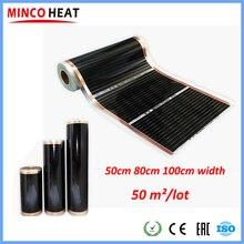 Feuille chauffante électrique pour sol, 50 m2, Thermostat intelligent, contrôle via Wifi, Thermostat, films à infrarouge lointain, pour personnes