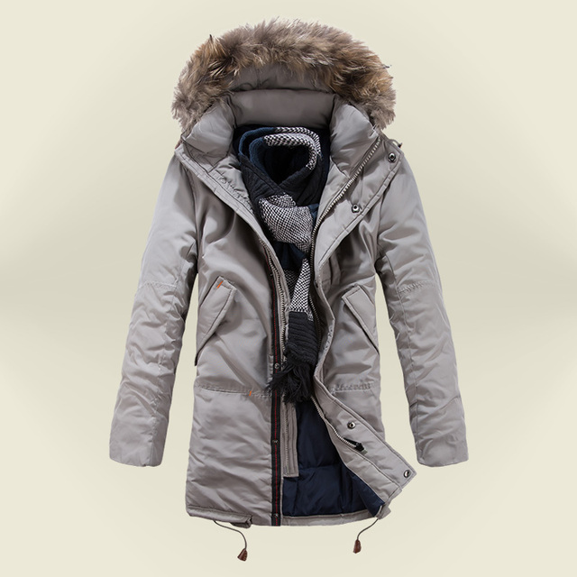 Men Down Jacket white duck 50% slim warm parkas casual long style ...