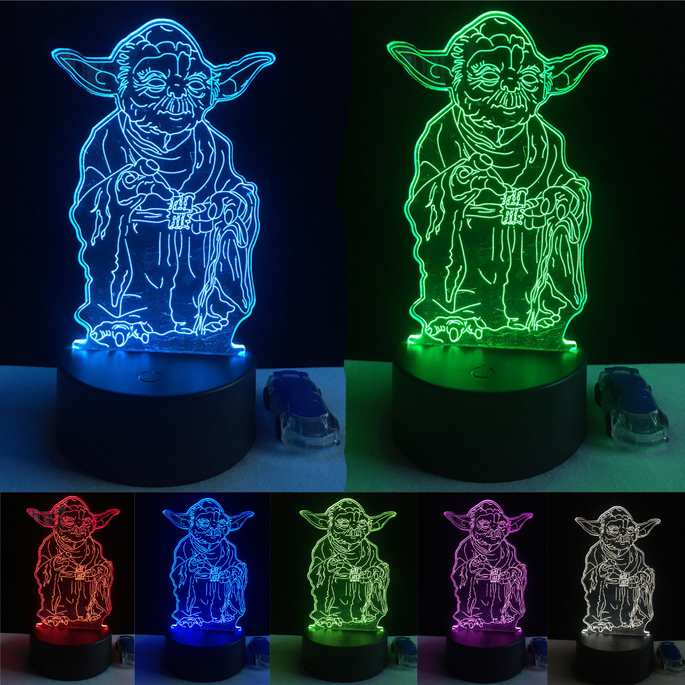 Star Wars 3D Bulbing Lamp Led Master Yoda Leader Vision Atmosphere Night Light Child Kids Bedroom Home Decor Birthday Xmas Gifts светильник светодиодный 3dlightfx star wars yoda face 3d
