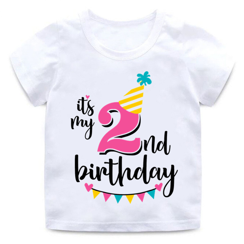Baby Boys Girls Birthday T Shirt Summer Kids Funny Gift T-shirt Size 1 2 3 4 5 6 7 Years Tops Tees Tshirt Children Clothing