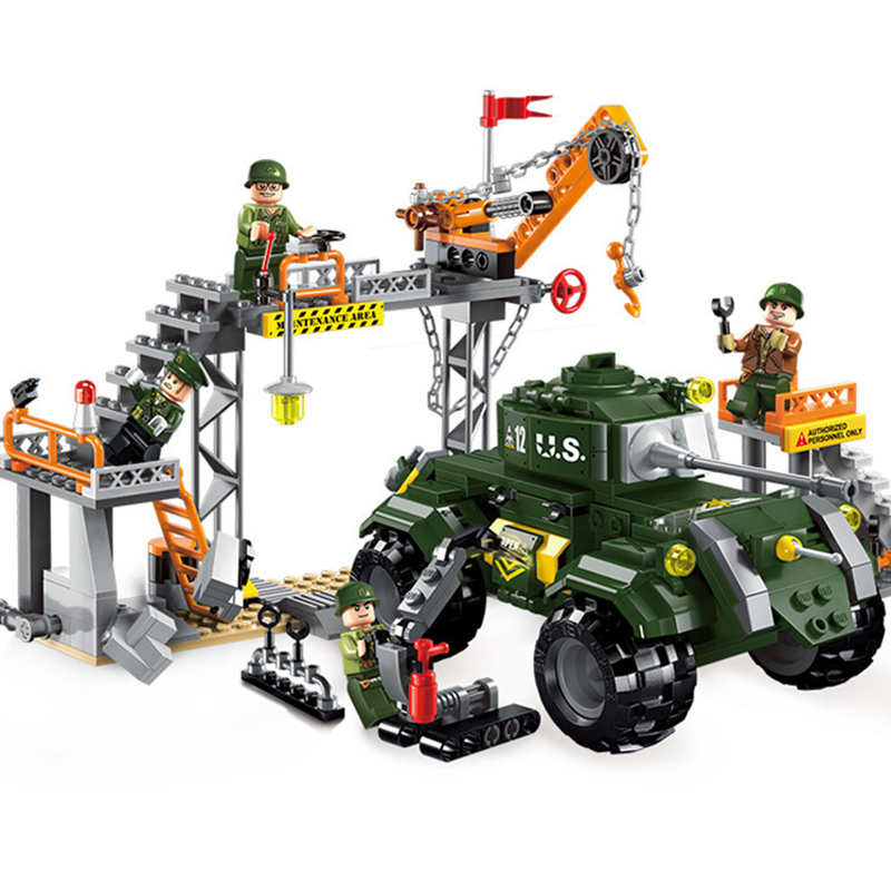 Sensible Childrens Building Blocks Toy Compatible Legoings City Boy Military Series Toy Armored Tank Transporter Military Repair Shop Refreshment Toys & Hobbies Model Building Kits