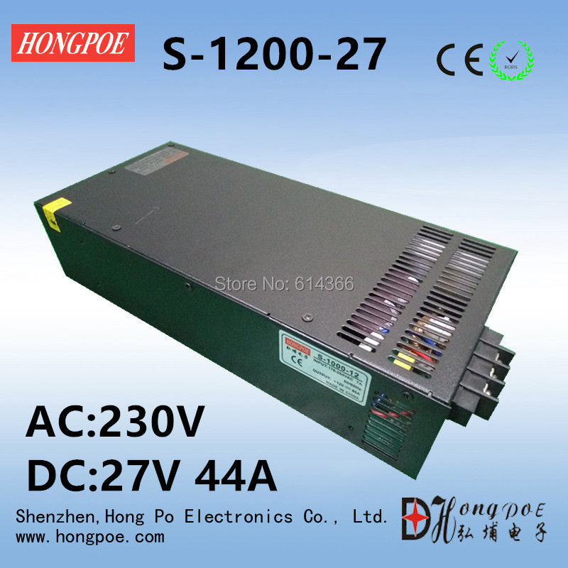 1PCS 27V 44A 1200W Switching Power Supply 27V 44A Driver for CCTV camera LED Strip AC 100-240V Input to DC 27V power supply 24v 800w dc power adapter ac110 220v non waterproof led driver 33a ups for strip lamps wholesale 1pcs