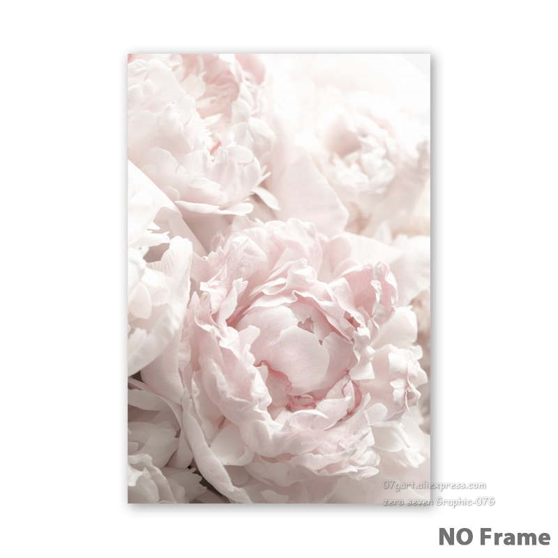 HTB1PZ.PRIfpK1RjSZFOq6y6nFXap Feather Peony Blossom Canvas Painting Posters And Prints Picture Living Room Art Wall Home Decoration