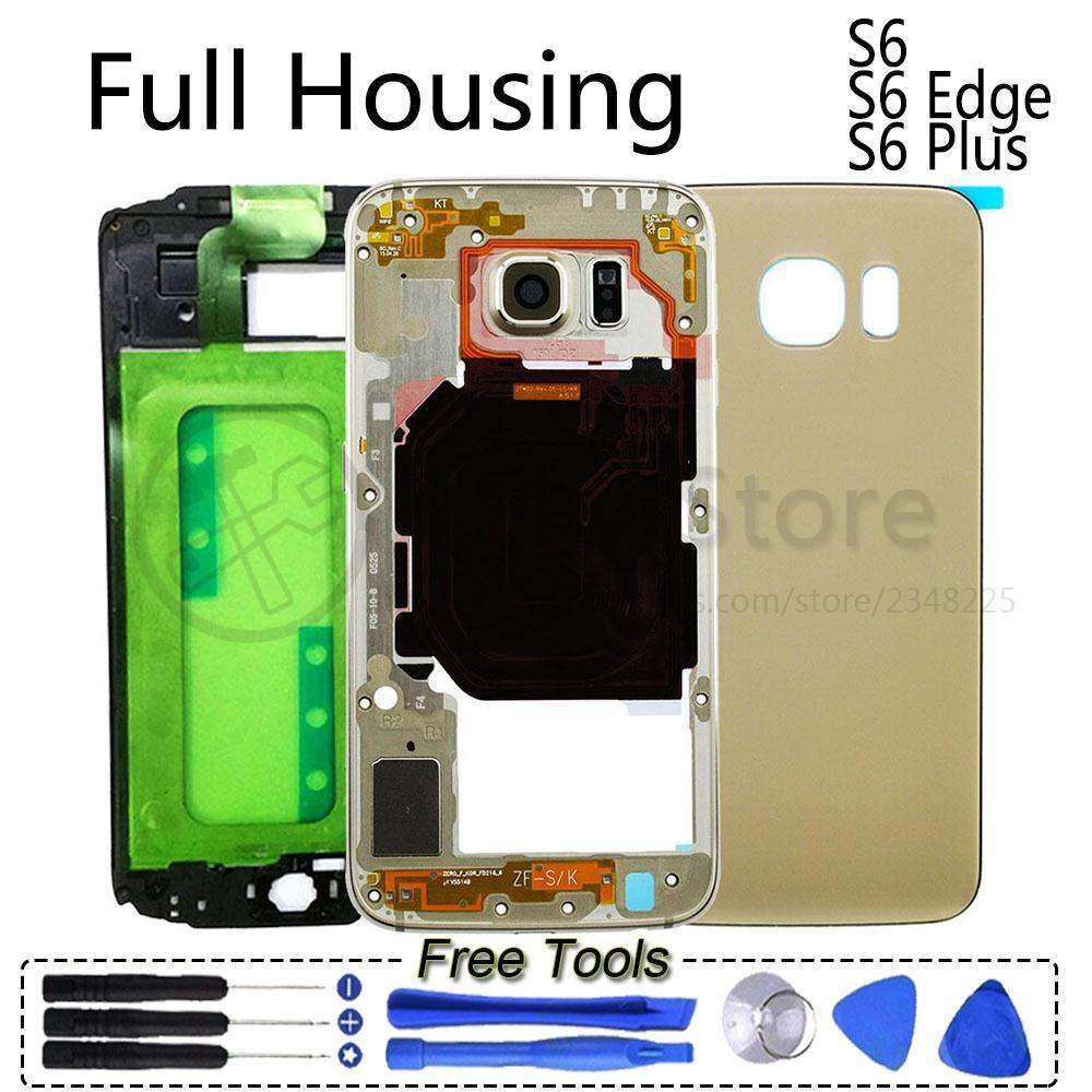 S6 Full Housing Case Frame Bezel Battery Cover Screen Glass For Samsung Galaxy S6 G920 G920F