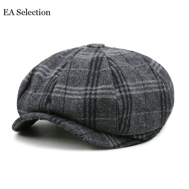 337e8c50 Women Men's cap Newsboy Caps Movie star Retro HERRINGBONE TWEED Octagonal Cap  Driving Men Wool Fleece Hat winter Autumn Hats
