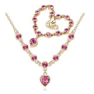 Fashion New Heart Rhinestone Austrian Crystal Necklaces Bracelets Jewelry Sets CS184B13 ABC