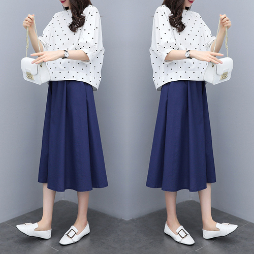 S-3xl Summer Cotton Linen Korean Women Two Piece Outfits Sets Plus Size Dot Print Tops And A-line Skirt Suits Casual Office Sets 49