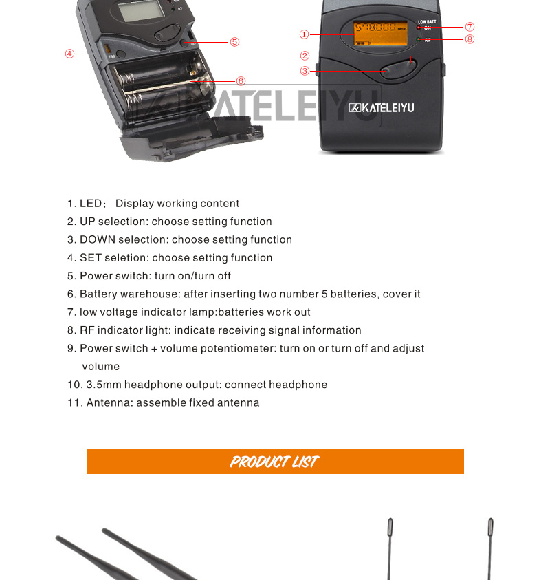 EM2050 Wireless in ear Monitor System 7 ear monitoring systems wireless stage monitor system EM2050 IEM bodypack monitor