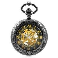 Antique Skeleton Gold Roman Numerals Dial Black Alloy Case Mechanical Hand Wind Long Fob Chain Clock Men Pocket Watch